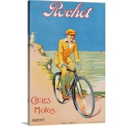 Large Solid-Faced Canvas Print Wall Art Print 20 x 30 entitled Rochet Cycles Motos Poster