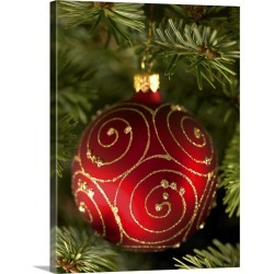 Large Solid-Faced Canvas Print Wall Art Print 30 x 40 entitled Christmas tree bauble