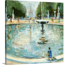 Large Solid-Faced Canvas Print Wall Art Print 20 x 20 entitled Parisian Afternoon II