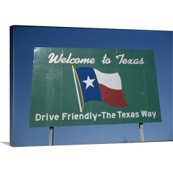Large Gallery-Wrapped Canvas Wall Art Print 24 x 16 entitled Texas Road Sign