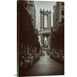 Large Gallery-Wrapped Canvas Wall Art Print 20 x 30 entitled Sidestreet with a view of the Manhattan Bridge in New York City
