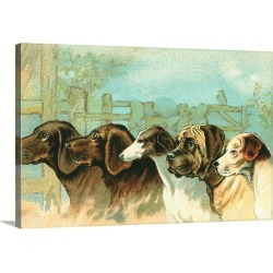 Large Gallery-Wrapped Canvas Wall Art Print 24 x 16 entitled Trade Card with the Profiles of Five Different Dog Breeds found on Bargain Bro India from Great Big Canvas - Dynamic for $214.99