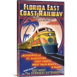 Large Gallery-Wrapped Canvas Wall Art Print 16 x 24 entitled Key West, Florida - East Coast Railway: Retro Travel Poster
