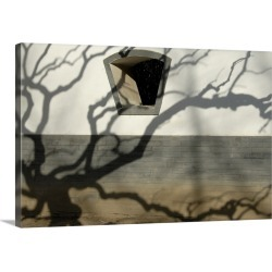 Large Solid-Faced Canvas Print Wall Art Print 30 x 20 entitled Shadow of a tree on a wall build in traditional style