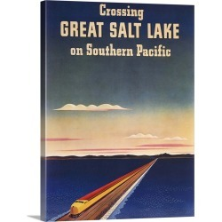 Large Gallery-Wrapped Canvas Wall Art Print 18 x 24 entitled Great Salt Lake - Vintage Travel Advertisement
