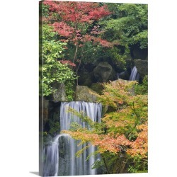 Large Solid-Faced Canvas Print Wall Art Print 20 x 30 entitled USA, Oregon, Portland, Japanese Garden, Waterfall in garden