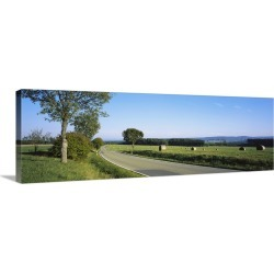 Large Gallery-Wrapped Canvas Wall Art Print 36 x 12 entitled Hay bales in a field, Germany