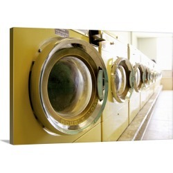Large Solid-Faced Canvas Print Wall Art Print 30 x 20 entitled Rows of washing machines at public laundry