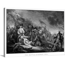 Large Solid-Faced Canvas Print Wall Art Print 40 x 30 entitled Vintage American Revolutionary War print of the Battle of B...