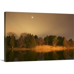 Large Gallery-Wrapped Canvas Wall Art Print 24 x 16 entitled A lakeside with reflections
