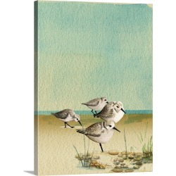 Large Solid-Faced Canvas Print Wall Art Print 30 x 40 entitled Sandpipers By The Sea
