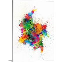 Large Solid-Faced Canvas Print Wall Art Print 30 x 40 entitled Colombia Paint Splashes Map