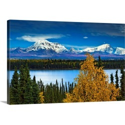 Large Solid-Faced Canvas Print Wall Art Print 30 x 20 entitled Scenic view of Mt. Sanford and Mt. Drum with Willow Lake
