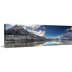 Large Solid-Faced Canvas Print Wall Art Print 48 x 16 entitled Mt. Dillon and Mt, Sukakpak reflecting in a pond in the Bro...