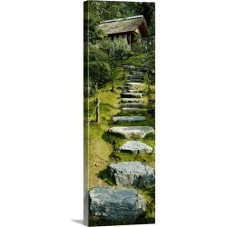 Large Solid-Faced Canvas Print Wall Art Print 12 x 36 entitled Low angle view of steps leading to a villa, Katsura Imperia...