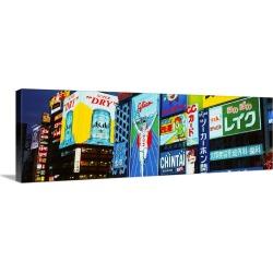 Large Gallery-Wrapped Canvas Wall Art Print 30 x 10 entitled Billboards lit up at night, Dotombori District, Osaka, Japan