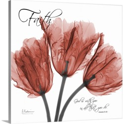 Large Solid-Faced Canvas Print Wall Art Print 20 x 20 entitled Tulips Faith x-ray photography