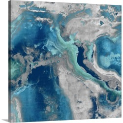 Large Solid-Faced Canvas Print Wall Art Print 20 x 20 entitled Stone with Blue and Aqua found on Bargain Bro Philippines from Great Big Canvas for $139.99