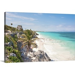 Large Solid-Faced Canvas Print Wall Art Print 30 x 20 entitled Tulum beach