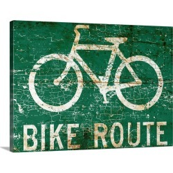 Large Gallery-Wrapped Canvas Wall Art Print 24 x 18 entitled Bike Route Sign
