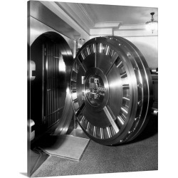 Large Gallery-Wrapped Canvas Wall Art Print 16 x 20 entitled Open Bank Vault Door