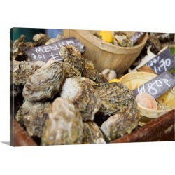 Large Solid-Faced Canvas Print Wall Art Print 30 x 20 entitled UK, England, London, Oysters