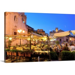 Large Gallery-Wrapped Canvas Wall Art Print 24 x 16 entitled People in a restaurant, Taormina, Sicily, Italy