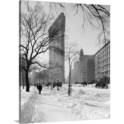 Large Gallery-Wrapped Canvas Wall Art Print 19 x 24 entitled View of the Flatiron Building after a snow storm in New York ...