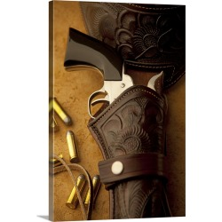 Large Gallery-Wrapped Canvas Wall Art Print 16 x 24 entitled Old western-style revolver in a holster found on Bargain Bro India from Great Big Canvas - Dynamic for $214.99