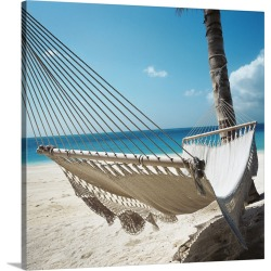 Large Solid-Faced Canvas Print Wall Art Print 20 x 20 entitled Hammock On A Beach