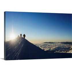 Large Solid-Faced Canvas Print Wall Art Print 30 x 20 entitled Sunrise from summit of Mont Blanc, 4810m, Haute-Savoie, Fre...