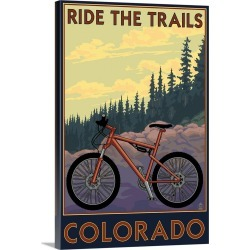 Large Solid-Faced Canvas Print Wall Art Print 20 x 30 entitled Colorado - Mountain Bike Scene: Retro Travel Poster