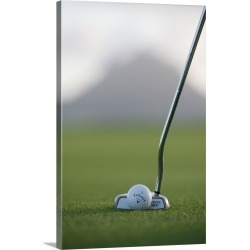 Large Gallery-Wrapped Canvas Wall Art Print 16 x 24 entitled Close-up of a golf club about to hit a golf ball found on Bargain Bro India from Great Big Canvas - Dynamic for $234.99