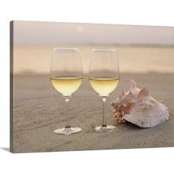 Large Solid-Faced Canvas Print Wall Art Print 40 x 30 entitled Champagne glasses and a shell on the beach