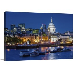 Large Solid-Faced Canvas Print Wall Art Print 30 x 20 entitled River Thames and St Paul's Cathedral at dusk found on Bargain Bro India from Great Big Canvas - Dynamic for $169.99