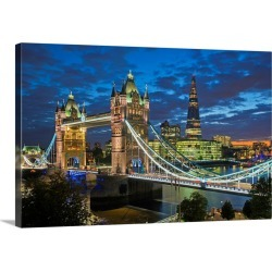 Large Solid-Faced Canvas Print Wall Art Print 30 x 20 entitled UK, England, London, River Thames, Tower Bridge and The Shard