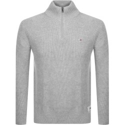 Tommy Jeans Half Zip Knit Jumper Grey found on Bargain Bro UK from Mainline Menswear