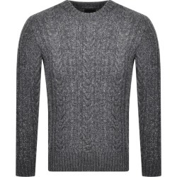 Superdry Crew Neck Jacob Cable Knit Jumper Grey found on Bargain Bro UK from Mainline Menswear