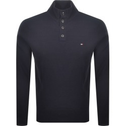 Tommy Hilfiger Cotton Button Mock Neck Jumper Navy found on Bargain Bro from Mainline Menswear for £88