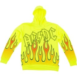 AC/DC Flames Pullover Hoodie | Size Large | Yellow