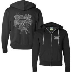Rks Floral Zip Hoodie | Size Large | Black