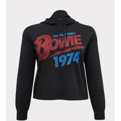 David Bowie 1974 World Tour Cropped Hoodie | Size 0 (Large) | Black