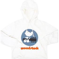 Woodstock Bird Guitar Logo White Cropped Hoodie | Size Large