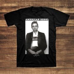 Johnny Cash Merch - Johnny Cash Mug Shot Men's T-Shirt   Size Large   Black   Short Sleeve found on Bargain Bro India from Musictoday for $30.00