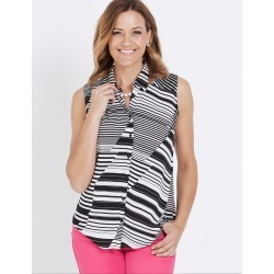 Millers Sleeveless Shirring Detail Collared Shirt - Mono Cutabout - 24 found on Bargain Bro India from Rockmans for $14.77