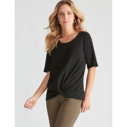 Rockmans Elbow Sleeve Twist Front Top - Black - XL found on Bargain Bro from Noni B Limited for USD $10.23