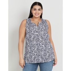 Beme Sleeveless Button Linen Blend Tank - Abstract Spot - 14 found on Bargain Bro Philippines from crossroads for $11.79