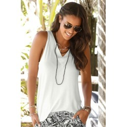Urban V Neck Top - Ivory - 14 found on Bargain Bro from BE ME for USD $8.79