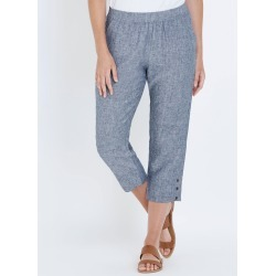 W.lane Button Crop Linen Pant - French Navy Xdye - 8 found on Bargain Bro India from Rockmans for $10.65