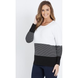 W.lane Colour Block Ribbed Pullover - Black Multi - S found on Bargain Bro India from Noni B Limited for $21.72